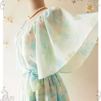 Over the Rainbow : Holiday Pastel Dress Butterfly Sleeve Party Dress Romantic Cocktail Dress Swing Chiffon Bridesmaid Dress No.2 - Size S-M