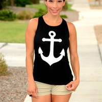 Summer Anchor Printed Sexy Tank Vest a11065