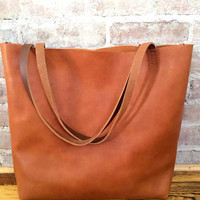 Brown Leather Tote Bag - Distressed Brown Leather Travel Bag - Leather Market bag with removable cross body strap