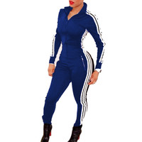 Blue White Striped Girls Rompers Womens Jumpsuit Stretchy Bodycon Bandage Bodysuit Party Overalls Playsuits Club Wear Outfits