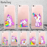 Clear TPU Cute Rainbow Unicorn Cases Cover For iphone 6 6s 5 5s se 7 7Plus Transparent Silicone Case New