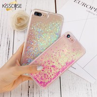 KISSCASE Cover For iPhone 7 iPhone 6 6S Plus 5 5S SE Case Glitter Quicksand Transparent Phone Cases For iPhone 7 Plus Accessory