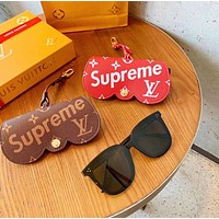 Louis Vuitton LV x Supreme Glasses Leather Case Storage Charm Key Holder No Glasses