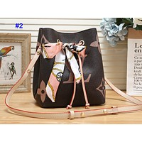 LV fashion casual lady matching color printed bucket shoulder bag With a silk scarf