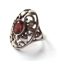 Vintage garnet and sterling silver ring, openwork hearts and scrolls design, Art Nouveau style, 925 silver, #91.