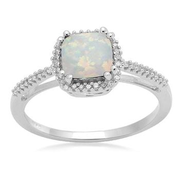 10k White Gold, October Birthstone, Simulated Opal and Diamond Cushion Ring, Size 7
