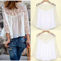 Fashion Women's Sexy Crochet Lace Chiffon Stitching Blouses Shirt Tops Oversize Plus Size(US Size,S-4XL) = 1958334852