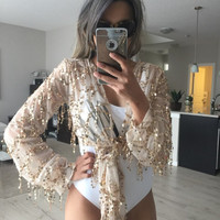 ‰ªÁ Shinning Kimonos Sequin Tassel Long Sleeve Crop Top ‰ªÁ