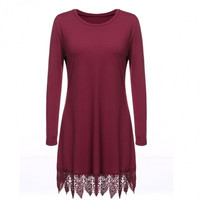 Women Casual O-Neck Long Sleeve Lace Trim Loose Tunic Dress