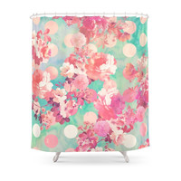 Society6 Romantic Pink Retro Floral Pattern Teal Polka Dots Shower Curtains