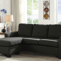 Furniture of america CM6593GY 2 pc Erin dark gray fabric sectional sofa with ottoman chaise