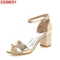 EGONERY Summer Style Fashion Womens Shoe Silver Patent Leather Buckle Square Heels Air Open Toe Woeman Sandals Plus Size