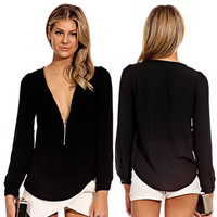V-Neck Zipper Long Sleeved Chiffon Top