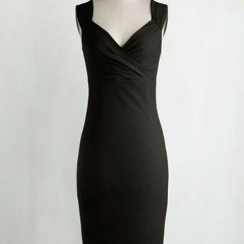 Pinup Long Sleeveless Bodycon Lady Love Song Dress in Black