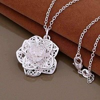 Silver Lotus Flower Necklace For Woman