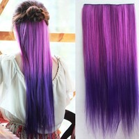Uniwigs Ombre Dip-dye Color Clip in Extension 60cm Length Rose Red and Dark Purple Straight for Dreamlike Girls Tbe0008:Amazon:Beauty