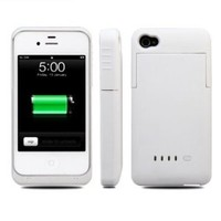 Greenery BXT Colourful Slim External Rechargeable Backup Battery Charger Charging Case Cover for iPhone 4 4s (2000mAh) (BLACK)