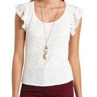 Sheer-Back Flutter Sleeve Lace Top by Charlotte Russe