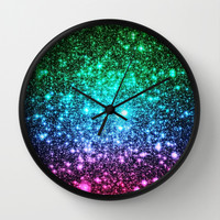 Cool Tone Ombre Stars Wall Clock by 2sweet4words Designs | Society6