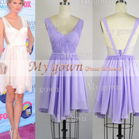 Star Style With Lavender Draped Sexy Backless Short Mini Dress,Prom Dress, Dresses, Evening Gown,Bridesmaid Dress