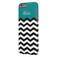 Black & White Chevron On Teal Blue Custom Monogram Barely There iPhone 6 Case