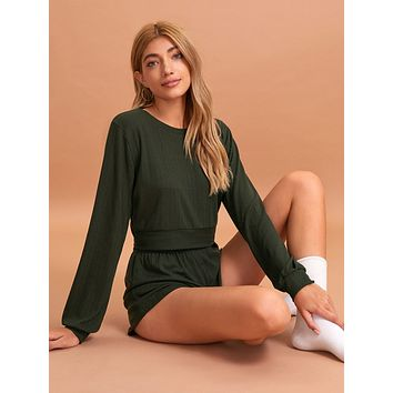 Solid Round Neck Top With Shorts PJ Set