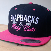 SnapBacks and Kitty Cats Cap with Custom Embroidered Logo.  Made to order quality snap back hats and designs
