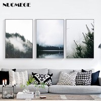 Nordic Style Forest Landscape Wall Art Canvas Poster and Print Canvas Painting Decorative Picture for Living Room Home Decor