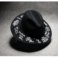New Arrival Vintage 2015 Letter Printed Fedoras Hats For Women Men Unisex Hat Cap Casual Floppy Wide Brim Free Shipping