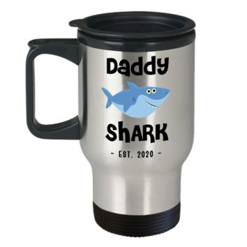Daddy Shark Mug Father's Day Gifts New Dad Est 2020 Do Do Do Expecting Dad Pregnancy Announcement Stainless Steel Insulated Travel Coffee Cup
