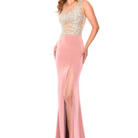 Precious Formals L61020 Beaded Sheer Illusion Top Prom Dress