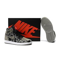Air Jordan 1 CAMO Black Gray Basketball Shoes US7-12