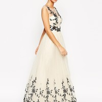 Chi Chi London Premium Lace Embroidered Full Tulle Maxi Dress