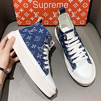 Wearwinds LV Fashion New Monogram Print High Top Shoes Blue