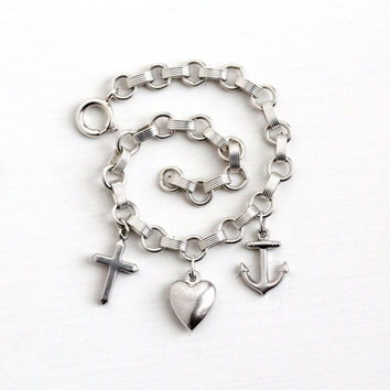 Vintage Sterling Silver Anchor , Heart & Cross Charm Bracelet - 1940s Faith Hope Charity Love Symbolic Small Puffy Pendant Fob Jewelry