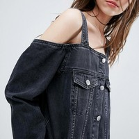 ASOS Denim Off Shoulder Jacket in Washed Black at asos.com