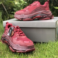 2019 Balenciaga Triple S Trainers Wine Red