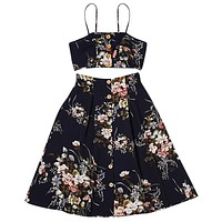 Floral Printed Spaghetti Strap Crop Top and Skirts Two piece Dress 6344