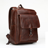 Men's 14 Inch Laptop Bag Vintage School Bag Leather Backpack Travel Bag