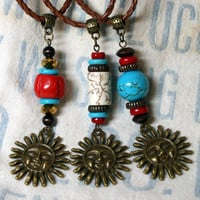 Gypsy Sun Pendant Boho Necklace with Coral Turquoise or Howlite Accents Antique Bronze on Leather