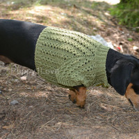 Olive Sweater Vest Handmade Openwork For Pets Clothes Hand Knitting Jacket READY TO SHIP