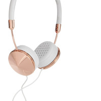 Frends - Layla leather and rose gold-tone headphones