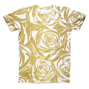 The Gold and White Roses ink-Fuzed Unisex All Over Full-Printed Fitted Tee Shirt