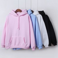 2018 New Social  Hoodies For Girls Solid Color Hooded Tops Women's Clothes Long-sleeved Women Winter Velvet Thickening