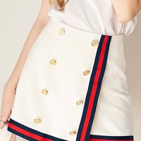 White Double Breasted Contrast Stripe Trim Asymmetric Hem Skirt
