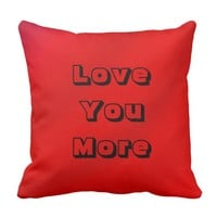 Love You, Love You More Square Pillow Red Gradient