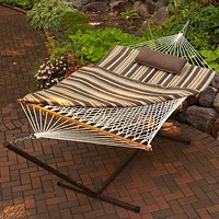 Outdoor Patio Deck 11-Ft Hammock with Metal Stand and Pad Pillow Set