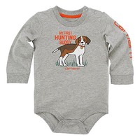 Carhartt Gray Heather Pup 'My First Hunting Buddy' Knit Bodysuit - Infant