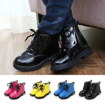 New Baby Kids Baby Girls Boys Toddler  Martin Patent Leather Boots Comfy Shoes = 1931653956