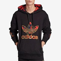 Adidas New fashion embroidery letter leaf hooded long sleeve sweater top Black